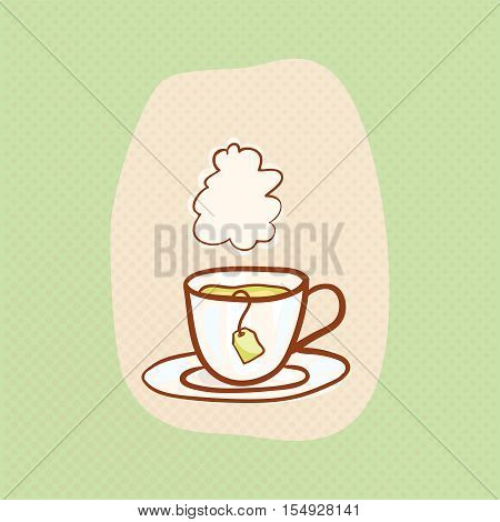 Tea sketchy vector clipart with vapor cloud. Vector hot tea design element and teabag. Sketch for flyer banner, ad, package, poster. Hand drawn mug, vector icon for teahouse