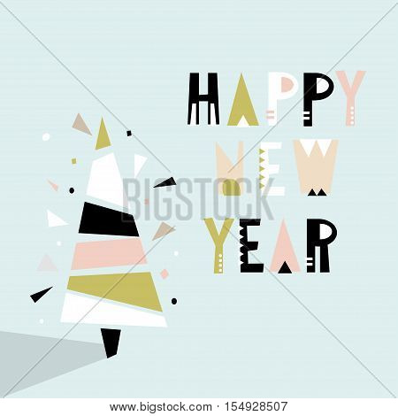 Happy New Year greeting background. Holiday winter template with Christmas tree. Vector Illustration