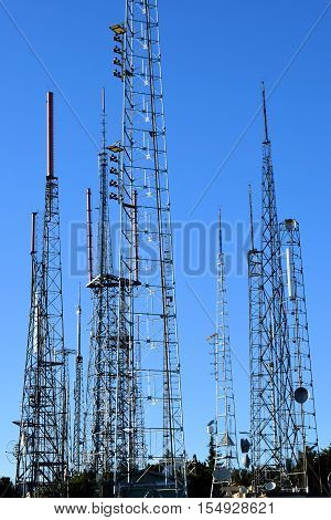 Antenna Farm with large satellite towers transmitting radio and television airwaves to the Los Angeles area taken on Mt Wilson, CA