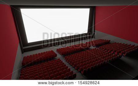 Blank Screen In Empty Cinema Hall. 3D Rendered Illustration.