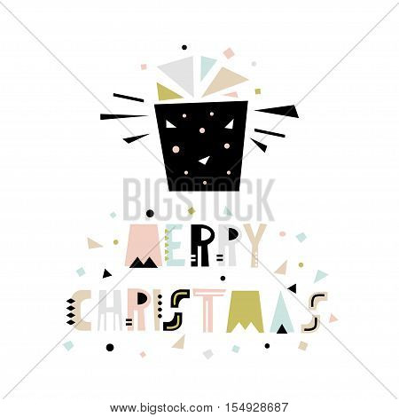 Merry Christmas greeting background. Holiday winter template with gift in geometric style. Vector Illustration