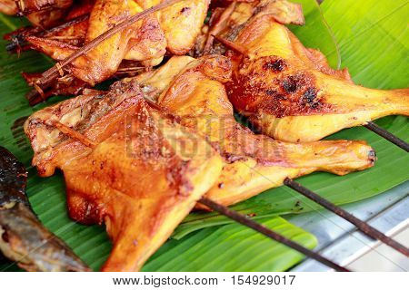 Roasted Chicken On Banana Leaf, Grilled Chicken, Thai Style Food. -thai Traditional Menu
