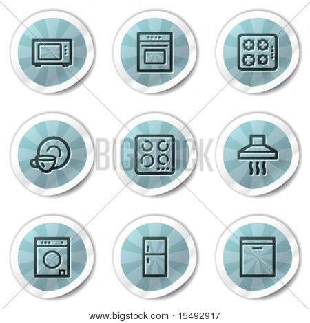 Home appliances web icons, blue shine stickers series