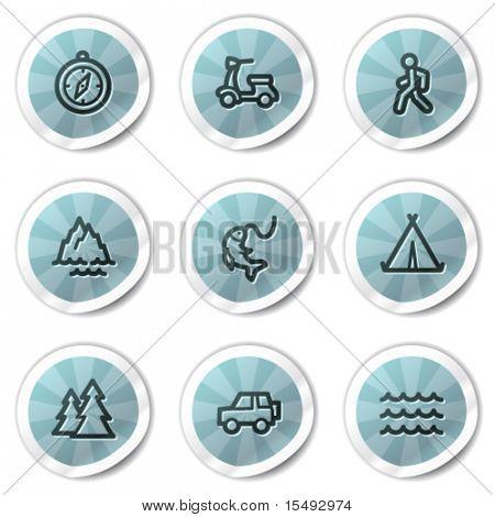 Travel web icons set 3, blue shine stickers series