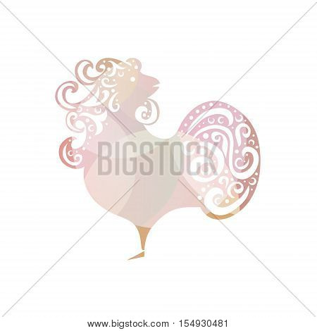 Chinese New Year 2017 rooster design. Cock - Symbol of New Year 2017. Rooster isolated on white