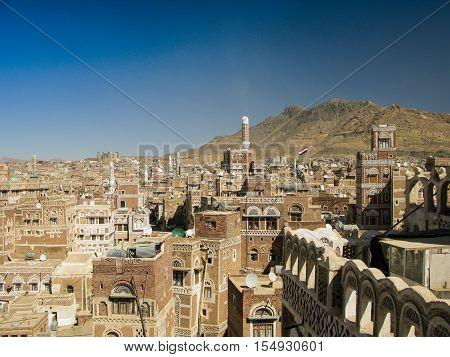 Aerial view of Sanaa old city Yemen
