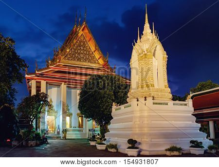 Bangkok, Thailand - December 7, 2015: Wat Pho Temple in night Bangkok Thailand. Wat Pho known also as the Temple of the Reclining Buddha.