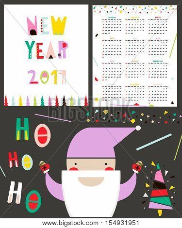 Calendar 2017 in geometric style. Week begin from Sunday. Vector Illustration