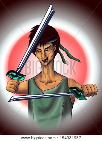 Ninja with katana training. Character. East, samurai