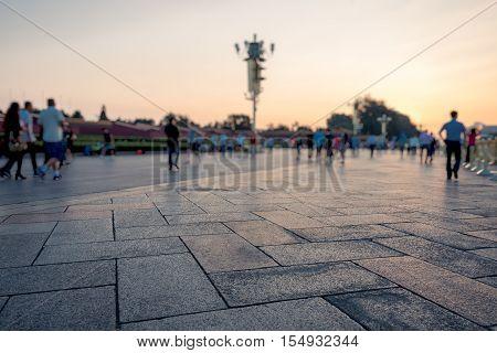 Tiananmen Square in Beijing at sunrise, China.