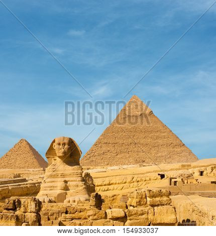 Sphinx Front Facing Giza Egypt Pyramids Khafre