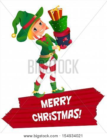 Santa Claus elf helper child. Santa helper traditional costume. red wooden banner. Merry Christmas. elf Santa s assistant with gifts isolated on a white background