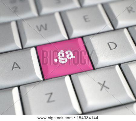 The .ga domain name on a keyboard key