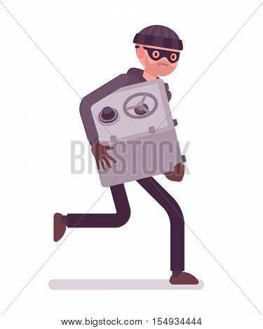 Thief in a black mask stole safe and is running away. Cartoon vector flat-style concept illustration