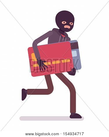 Thief in a black mask stole credit card and is running away. Cartoon vector flat-style concept illustration