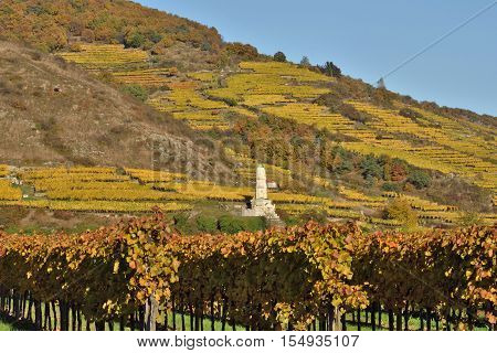 Frenchman Monument near Durnstein in the vineyards of Wachau in fall built in memory of the Battle of Durnstein 1805.