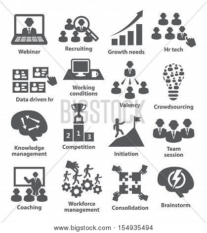 Business management icons on white. Pack 30.