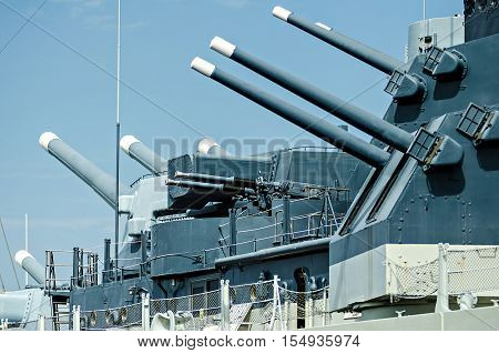 closeup details of a war ready artillery battleship