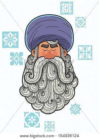 Cartoon portrait of man with turban and big beard.