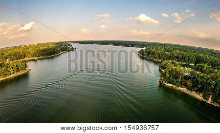 aerial over lake wylie in south carolina