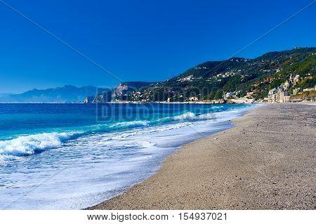 Empty beach. Province of Savona Liguria. Italy