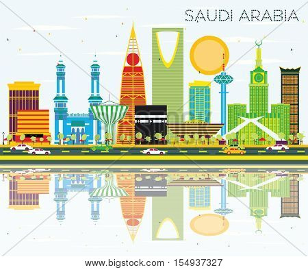 Saudi Arabia Skyline with Color Landmarks and Reflections. Business Travel and Tourism Concept. Image for Presentation Banner Placard and Web Site.