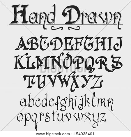 Hand drawn font. Old style typeface Lettering Calligraphic Design on white background, Vintage alphabet, vector typography for labels, headlines, posters