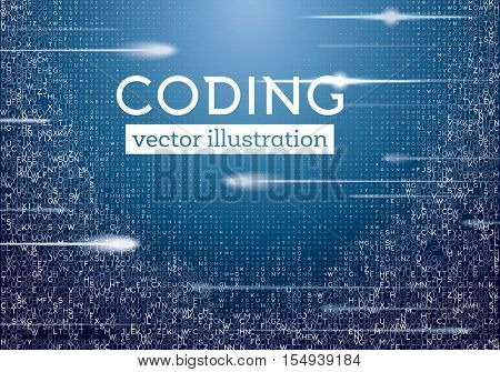 Abstract Blue Technology Background with Different Letters. Hacker concept. Big Data Visualization. Vector Illustration.