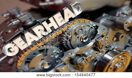 Gearhead Word Engine Tech Fan Customizer Performance 3d Illustration