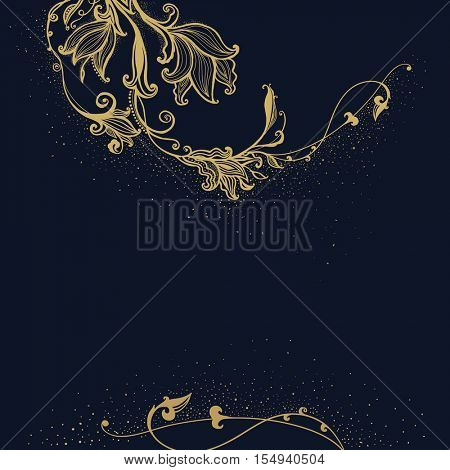 The raster version gold Flower background. Vintage greetings card. Hand drawn flowers. Decorative floral ornament.