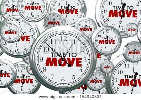 Time to Move Clocks Flying By Take Action Now 3d Illustration