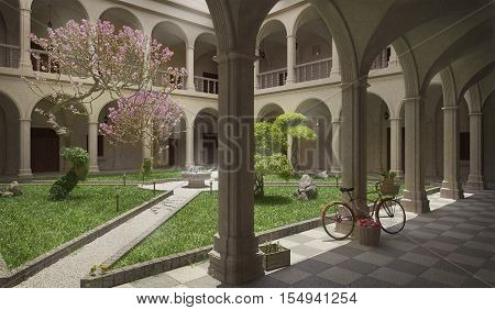 Ancient cloister, summer scene, exterior, 3D illustration
