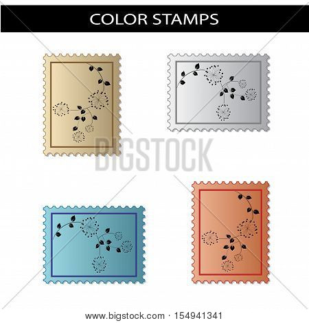 Vector stamps with flower design on white background