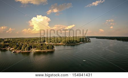 an aerial over lake wylie south carolina