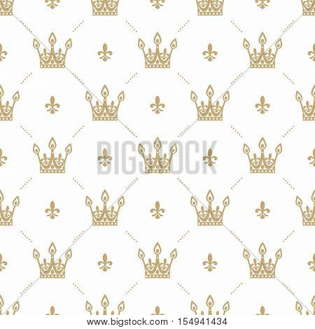 Seamless pattern in retro style with a gold crown on a white background. Can be used for wallpaper pattern fills web page background surface textures. Vector Illustration