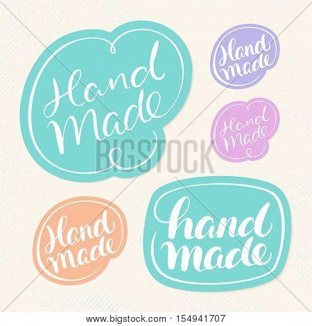 Handmade soap labels. Hand lettering. Vector hand drawn illustration.