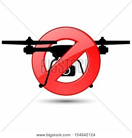 Quadcopter flights prohibited sign - silhouette of drone poster