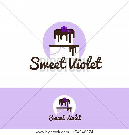Vector cute white cake logo with chocolate and violet flower on the top. Wedding cake store logo. Sweets shop negative space logo.