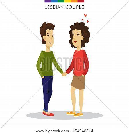 Vector lesbian couple love concept. Lesbian family of two women. Romantic illustration.