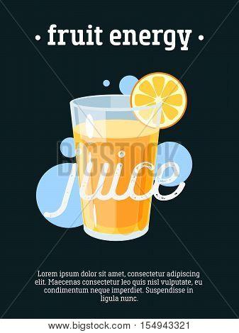 Fruit energy - blackboard restaurant sign, poster with glass of orange juice. Vector illustration, eps10.