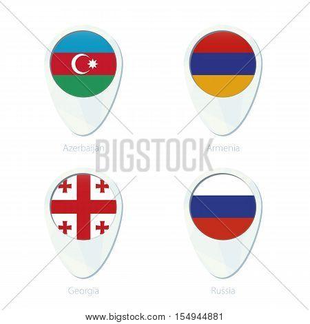 Azerbaijan, Armenia, Georgia, Russia flag location map pin icon. Azerbaijan Flag, Armenia Flag, Georgia Flag, Russia Flag. Vector Illustration.