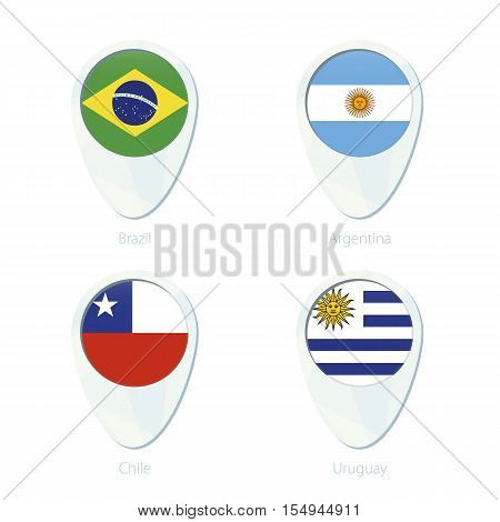 Brazil, Argentina, Chile, Uruguay flag location map pin icon. Brazil Flag, Argentina Flag, Chile Flag, Uruguay Flag. Vector Illustration.