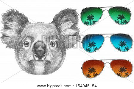 Original drawing of Koala with mirror sunglasses. Isolated on white background.