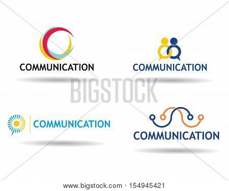 Communication icons set concept - template with copy space area