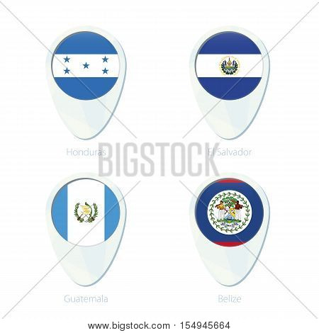 Honduras, El Salvador, Guatemala, Belize Flag Location Map Pin Icon.