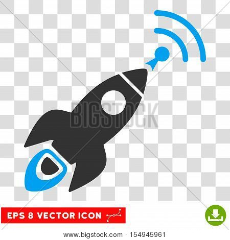 Space Rocket Radio Translation EPS vector pictograph. Illustration style is flat iconic bicolor blue and gray symbol on white background.