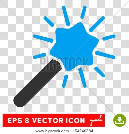 Wizard Wand EPS vector pictogram. Illustration style is flat iconic bicolor blue and gray symbol on white background.