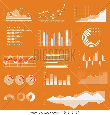 Thin line vector graphs charts and diagrams with flat elements. Outline diagram graphs and charts in linear style infographic for business presentation illustration