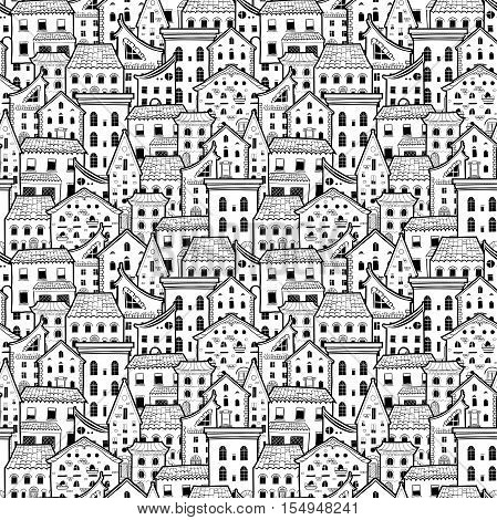 Light Black And White Seamless Pattern With Houses Doodle House Vector Background Monochrome