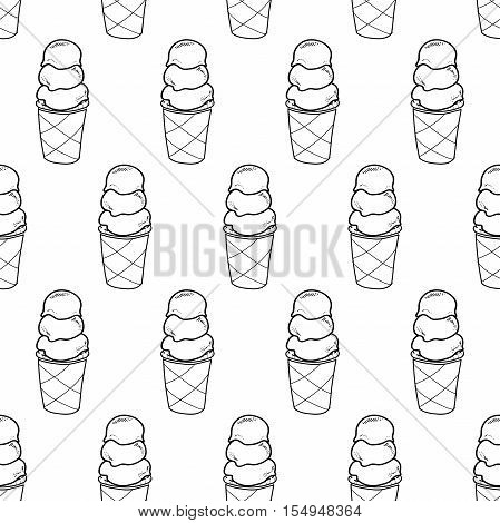Seamless doodle ice cream triple cup pattern, hand-drawn monochrome background, ice-cream vector, ice cream black and white wallpaper, for cards, invitations, food design, EPS 8